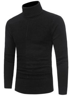 Panel Design Turtleneck Sweater - Black Xl