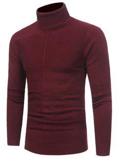 Panel Design Turtleneck Sweater - Wine Red 3xl