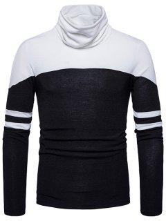Cowl Neck Color Block Varsity Stripe Sweater - Black S