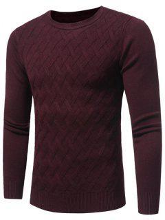 Net Pattern Crew Neck Sweater - Wine Red Xl