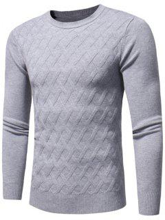 Net Pattern Crew Neck Sweater - Gray Xl