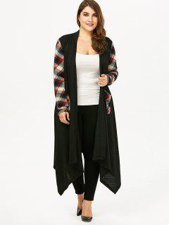 Plus Size Plaid Pocket Longline Drape Cardigan - Black 5xl