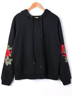 Plus Size Embroidery Hoodie - Black Xl