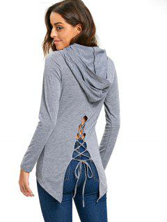 Hooded Lace Up High Low Tunic T-shirt - Gray Xl