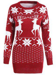 Maple Leaf Deer Tunic Christmas Sweater - Wine Red