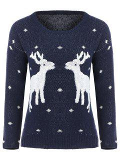 Long Sleeve Elk Snowflake Christmas Sweater - Purplish Blue