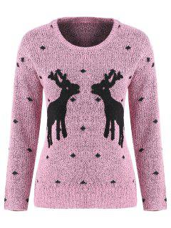Long Sleeve Elk Snowflake Christmas Sweater - Pink