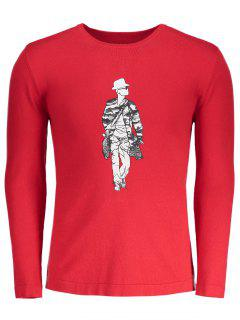 Crew Neck Figure Print Sweater - Red 2xl