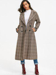 Double Breasted Plaid Trench Coat - Khaki Grey L