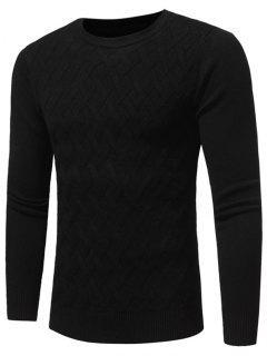 Net Pattern Crew Neck Sweater - Black Xl