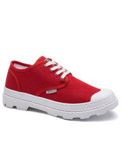 Canvas Letter Skate Shoes - Red 42