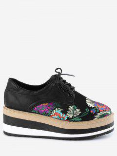 Lace Up Flower Wedge Shoes - Black 36