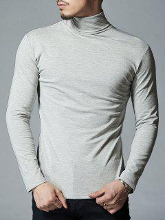 Camiseta Manga Larga Cuello Alto Elástico - Gris Claro 2xl