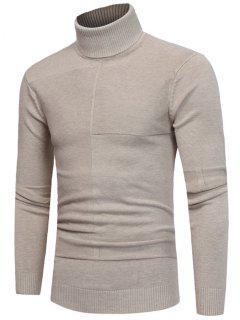 Panel Design Turtleneck Sweater - Beige 2xl