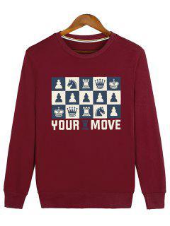 Horse Crown Graphic Crew Neck Sweatshirt - Red M