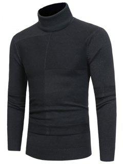 Suéter De Cuello De Tortuga Con Diseño De Panel - Gris Oscuro 3xl