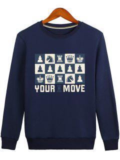 Horse Crown Graphic Crew Neck Sweatshirt - Blue L