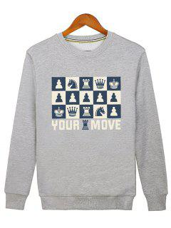 Horse Crown Graphic Crew Neck Sweatshirt - Gray L