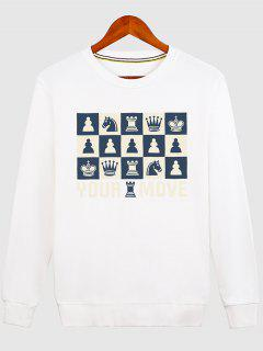 Horse Crown Graphic Crew Neck Sweatshirt - White 2xl