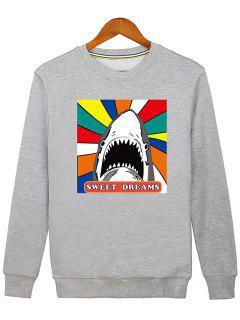 Letter Graphic Cartoon Sweatshirt - Gray L