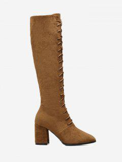 Chunky Heel Lace Up Knee High Boots - Brown 38