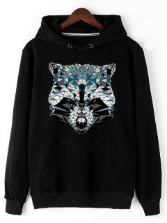 Kangaroo Pocket Animal Head Print Hoodie - Black L