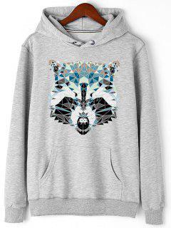 Kangaroo Pocket Animal Head Print Hoodie - Gray L