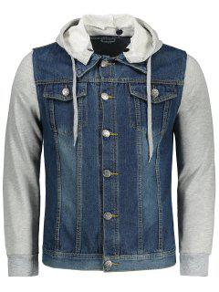 Jersey Hoodie Denim Jacket - Blue 3xl