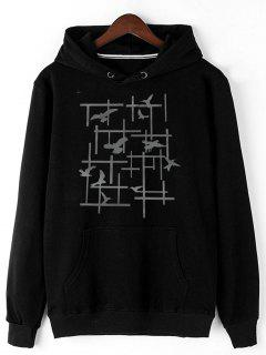 Pigeon Print Fleece Pullover Hoodie - Black 2xl