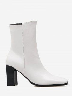 Block Heel Square Toe Side Zipper Boots - White 38
