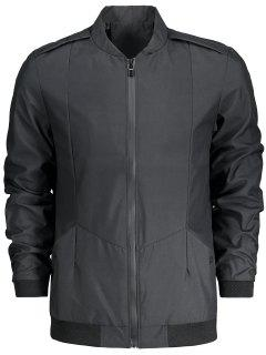 Stand Collar Zip Fly Jacket - Black 4xl