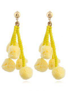 Beaded Chain  Fuzzy Ball Tassel Drop Earrings - Yellow