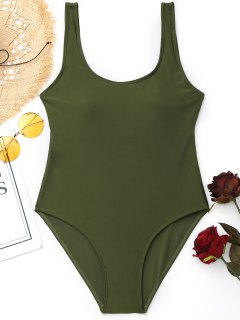 Padded Low Back High Cut Swimwear - Army Green M