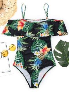 Cami Pineapple Leaf Print Swimwear - Black L