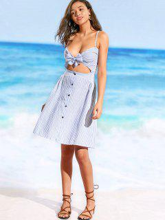 Striped Front Bowknot Beach Dress - Blue And White M
