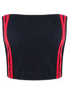 Cropped Striped Tube Top - Red M