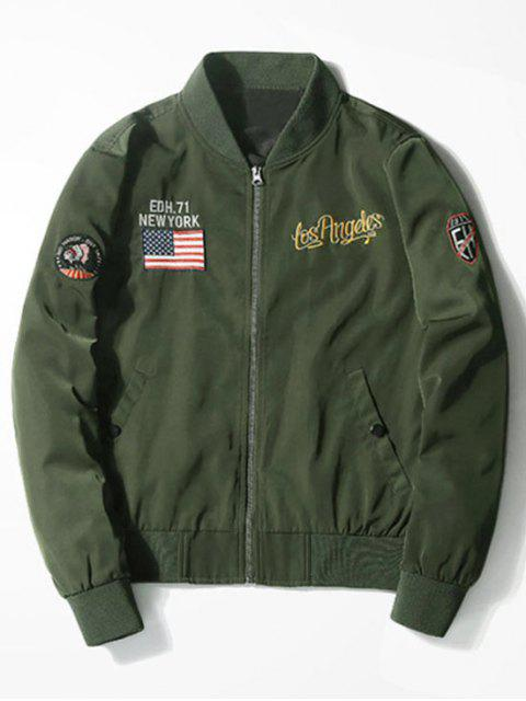 outfit Tiger Graphic Patch Bomber Jacket - ARMY GREEN 2XL Mobile