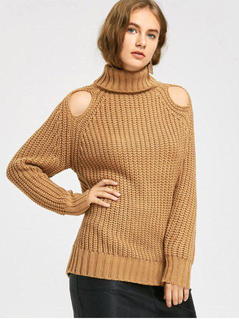 lady Turtleneck Chunky Cut Out Sweater - LIGHT COFFEE ONE SIZE Mobile