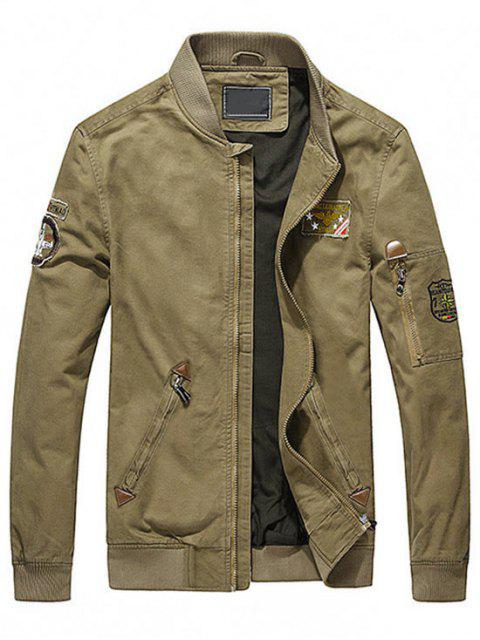 outfits Map Embroidered Patch Jacket - KHAKI M Mobile