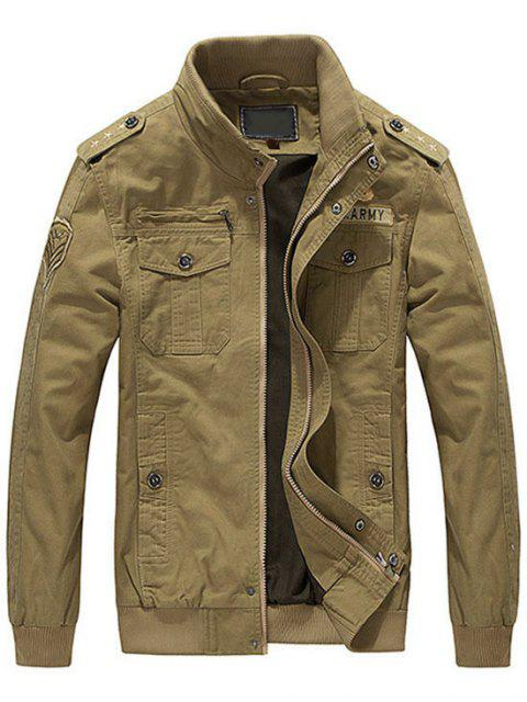 chic Patch Embroidered Jacket for Men - KHAKI 2XL Mobile
