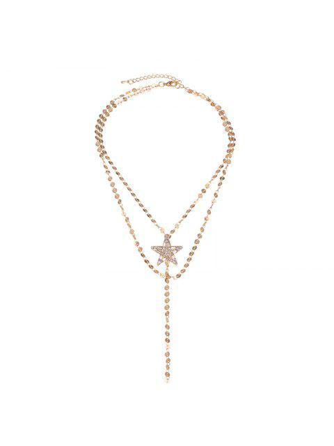 sale Faux Gem Star Longline Layered Necklace - GOLDEN  Mobile