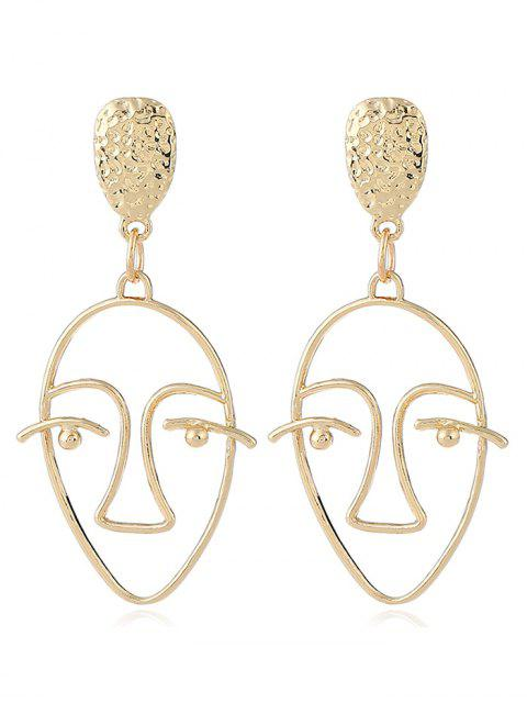lady Hollow Design Face Geometric Stud Earrings - GOLDEN  Mobile