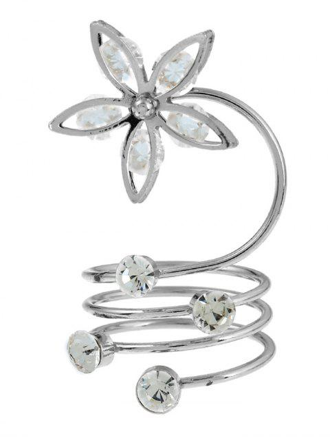 outfits Rhinestone Flower Circle Full Finger Ring - SILVER  Mobile