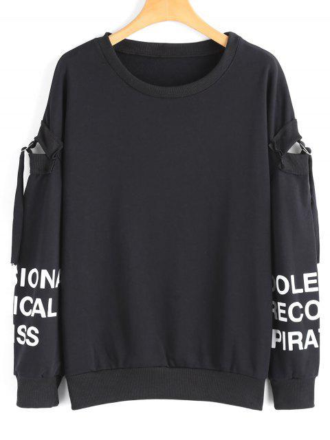 Übergröße Sweatshirt mit Cutout-Hülse und Buchstabe - Schwarz M Mobile