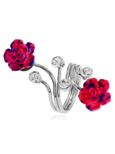 Aleación de diamantes de imitación flor anillo completo - Plata  Mobile