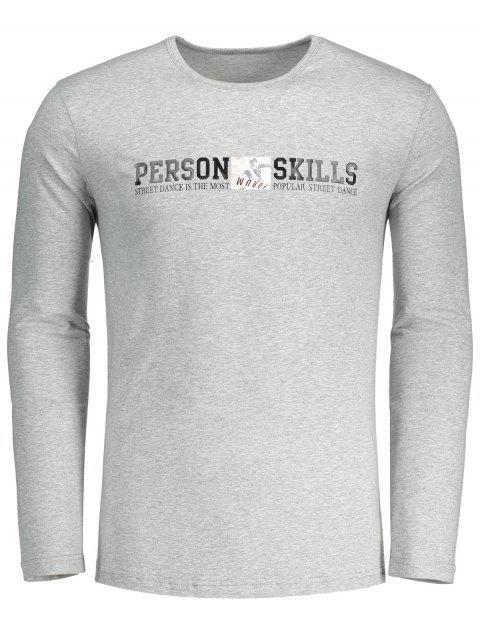 Camiseta gráfica de las habilidades de la persona - Gris L Mobile