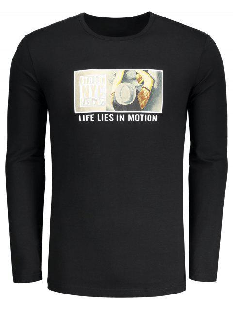 Camiseta gráfica del cuello del equipo - Negro L Mobile