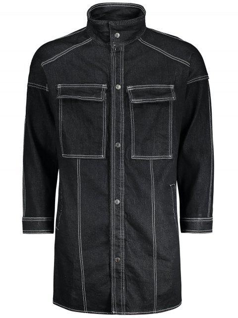 trendy Sewing Button Down Denim Coat - BLACK XL Mobile
