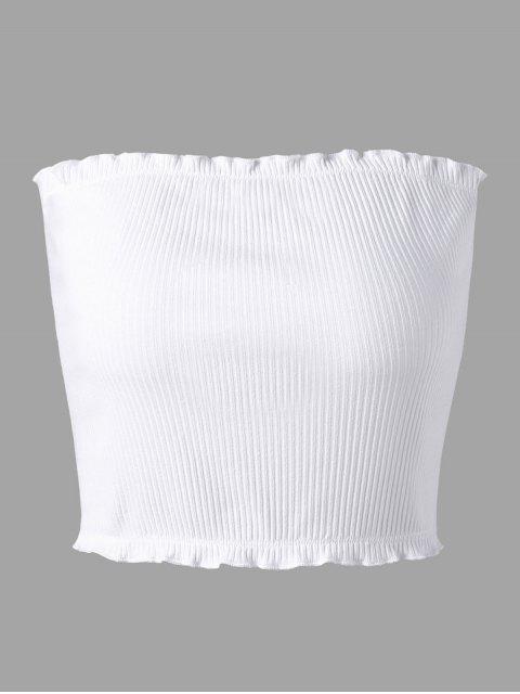 Geripptes Tube Top mit Volants - Weiß XL Mobile