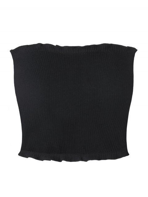 fashion Ribbed Flounced Tube Top - BLACK XL Mobile